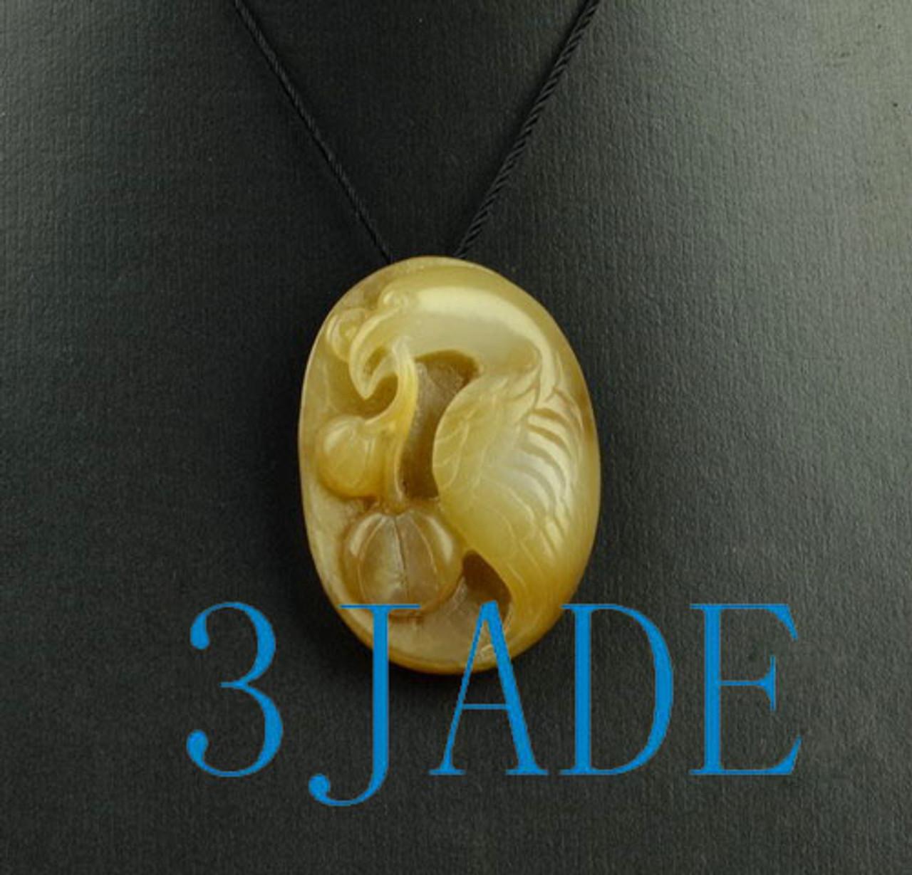 hand carved jade bird pendant