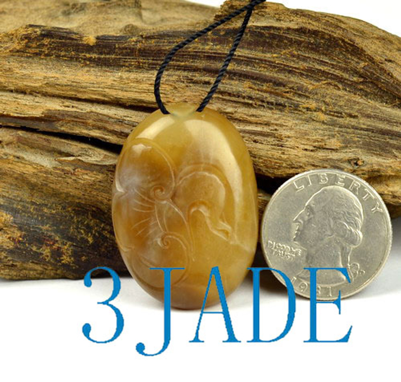 Hand Carved Natural Brown-White Nephrite Jade Bird Pendant Necklace w/ Certificate