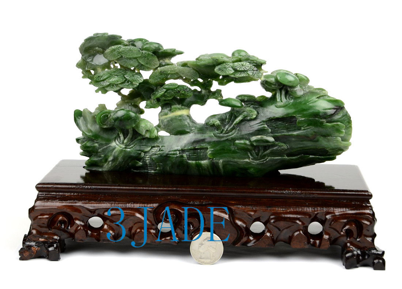 Green Nephrite Jade Withered Tree Revive Sculpture Hand Carved Stone Bonsai Tree 3jade Wholesale Of Jade Carvings Jewelry Collectables Prayer Beads