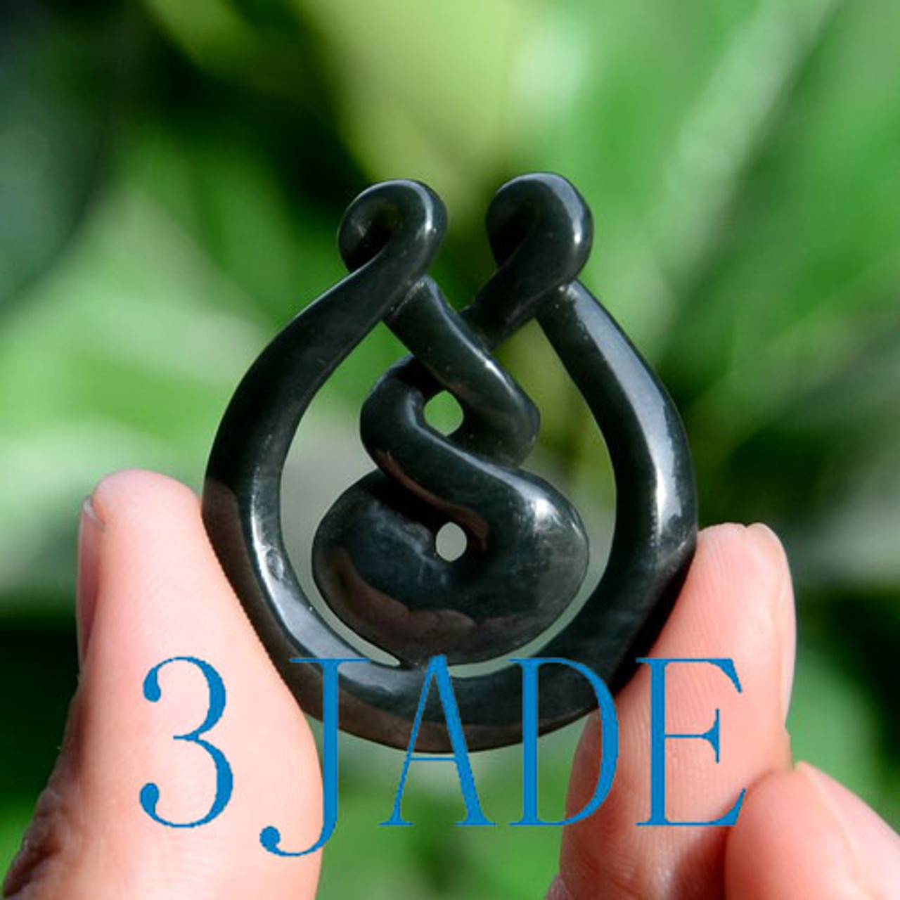 Nephrite Jade Eternity Twist Pendant Necklace