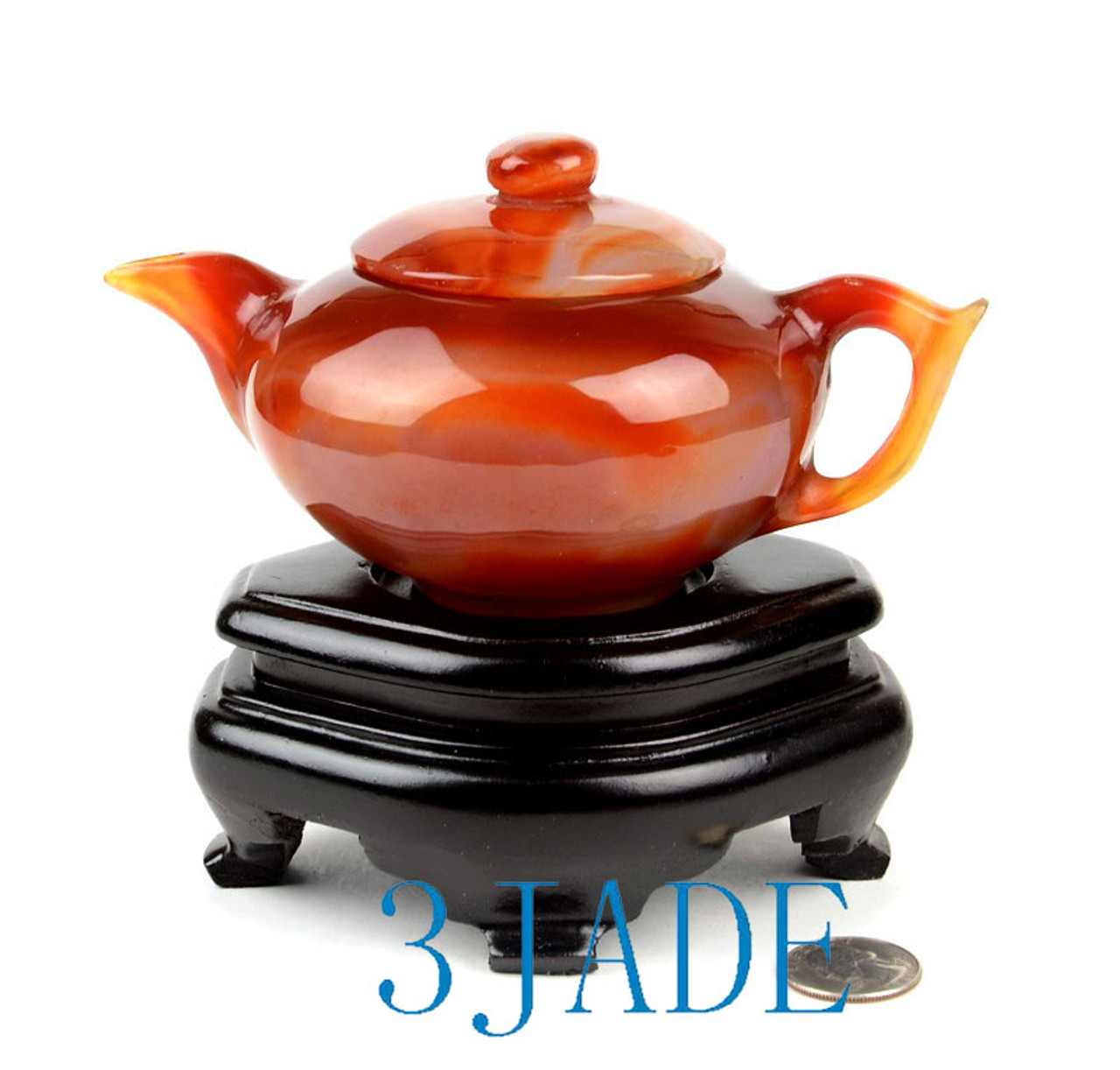Hand Carved Red Agate Teapot