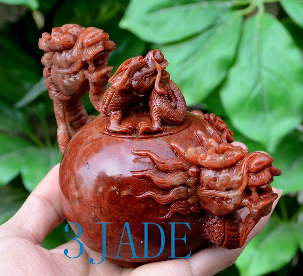 Hand Carved Natural ShouShan Stone Dragon Teapot  Chinese Tea Pot Sculpture