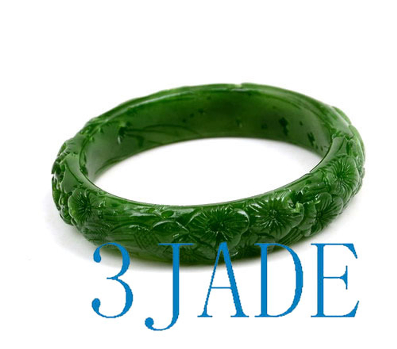 60mm carved green nephrite jade bangle