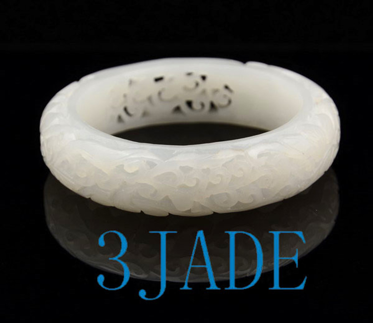 58mm hand carved white nephrite jade bangle