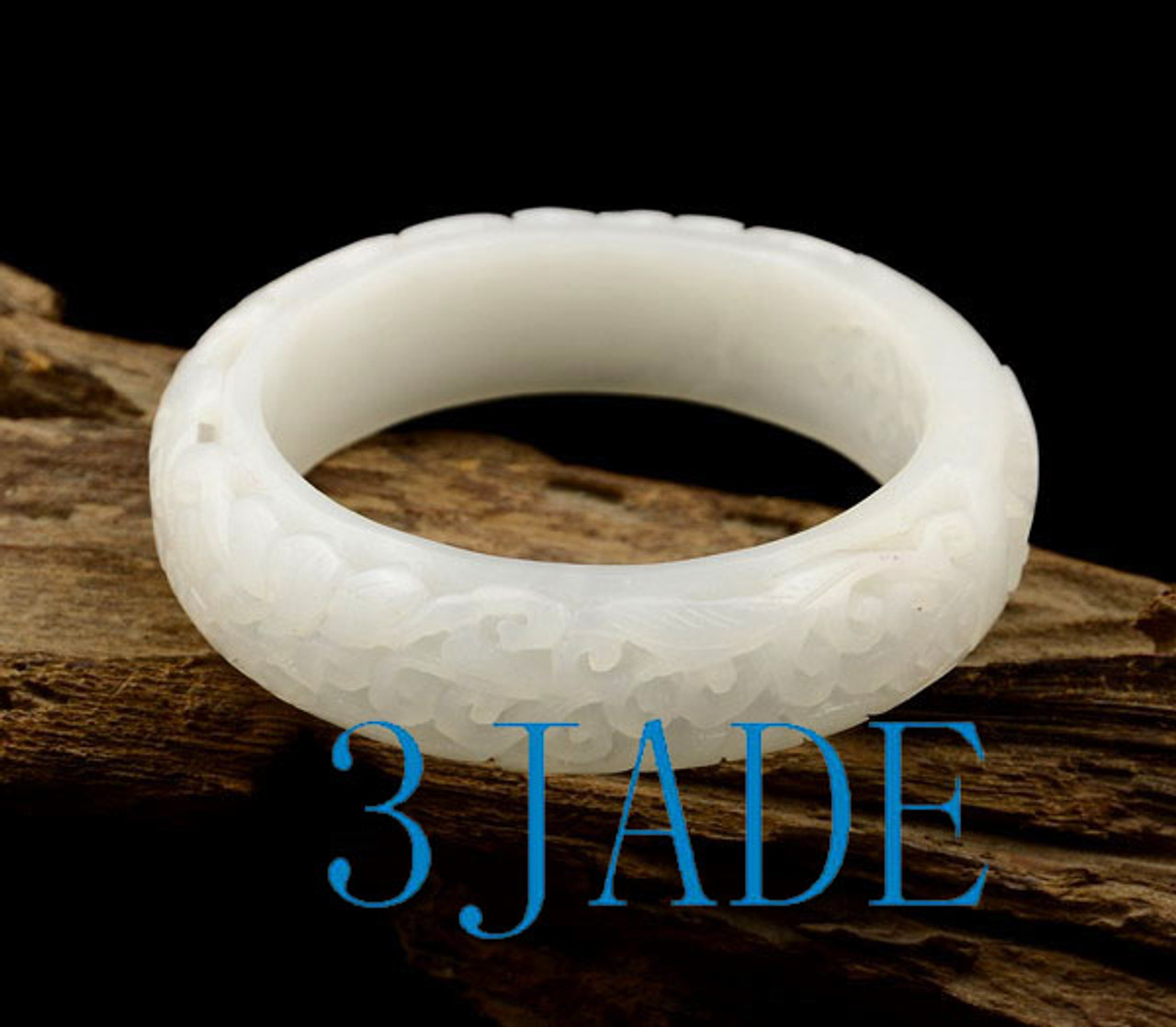 58mm white Hetian jade bangle