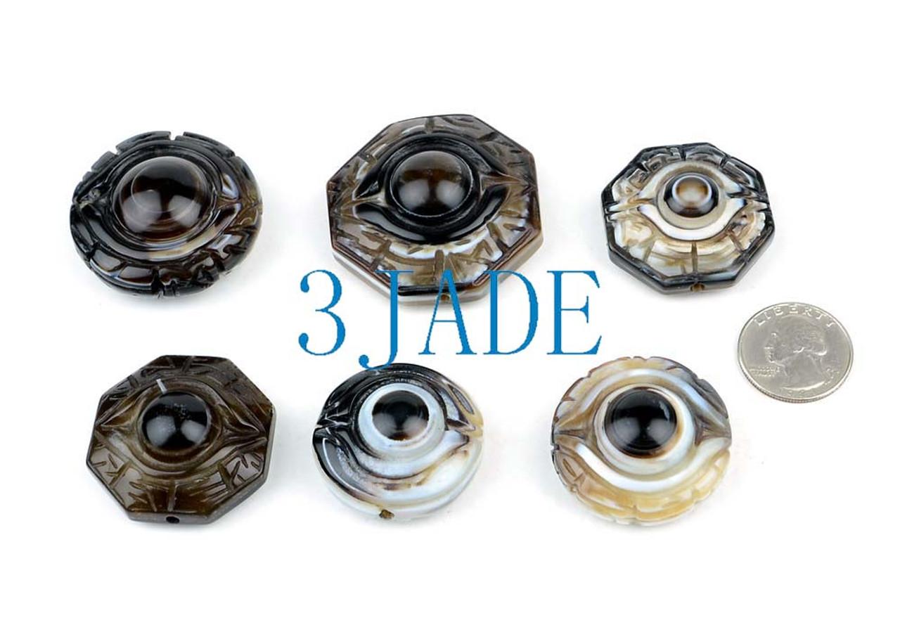 6pcs Tibetan Ritual DZI Heaven Eye Beads Powerful Energy Pendants Amulets  Wholesale