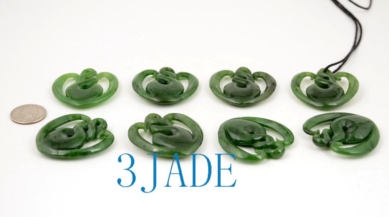 Green Nephrite Jade Twist Heart Pendant NZ Maori Style Greenstone Necklace