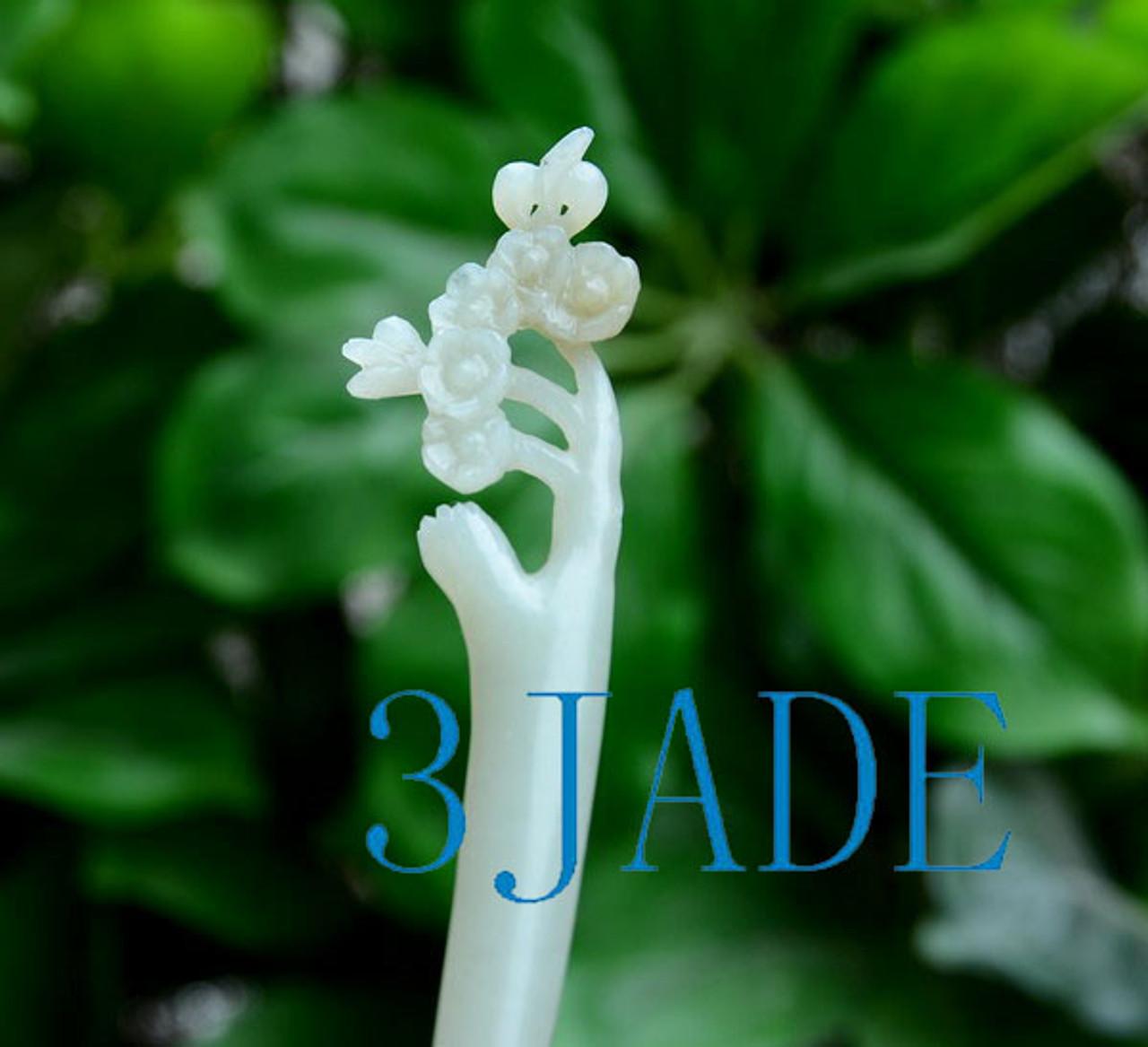 hand carved jade flower hair stick