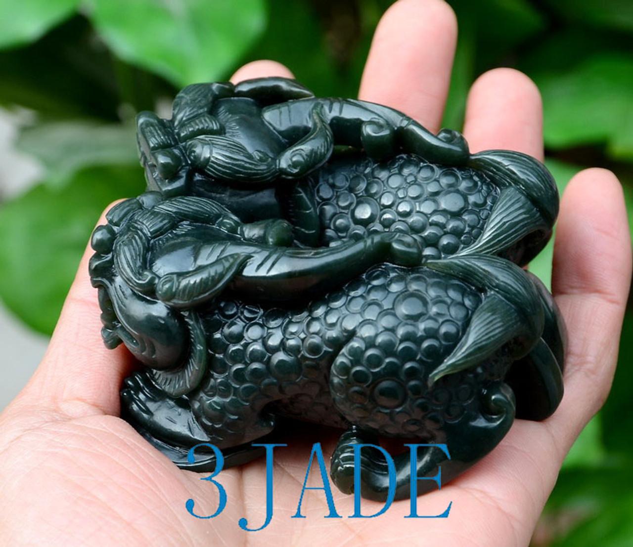2 Nephrite Jade Pixiu Figures Chinese Feng Shui Sculpture Brave Troops