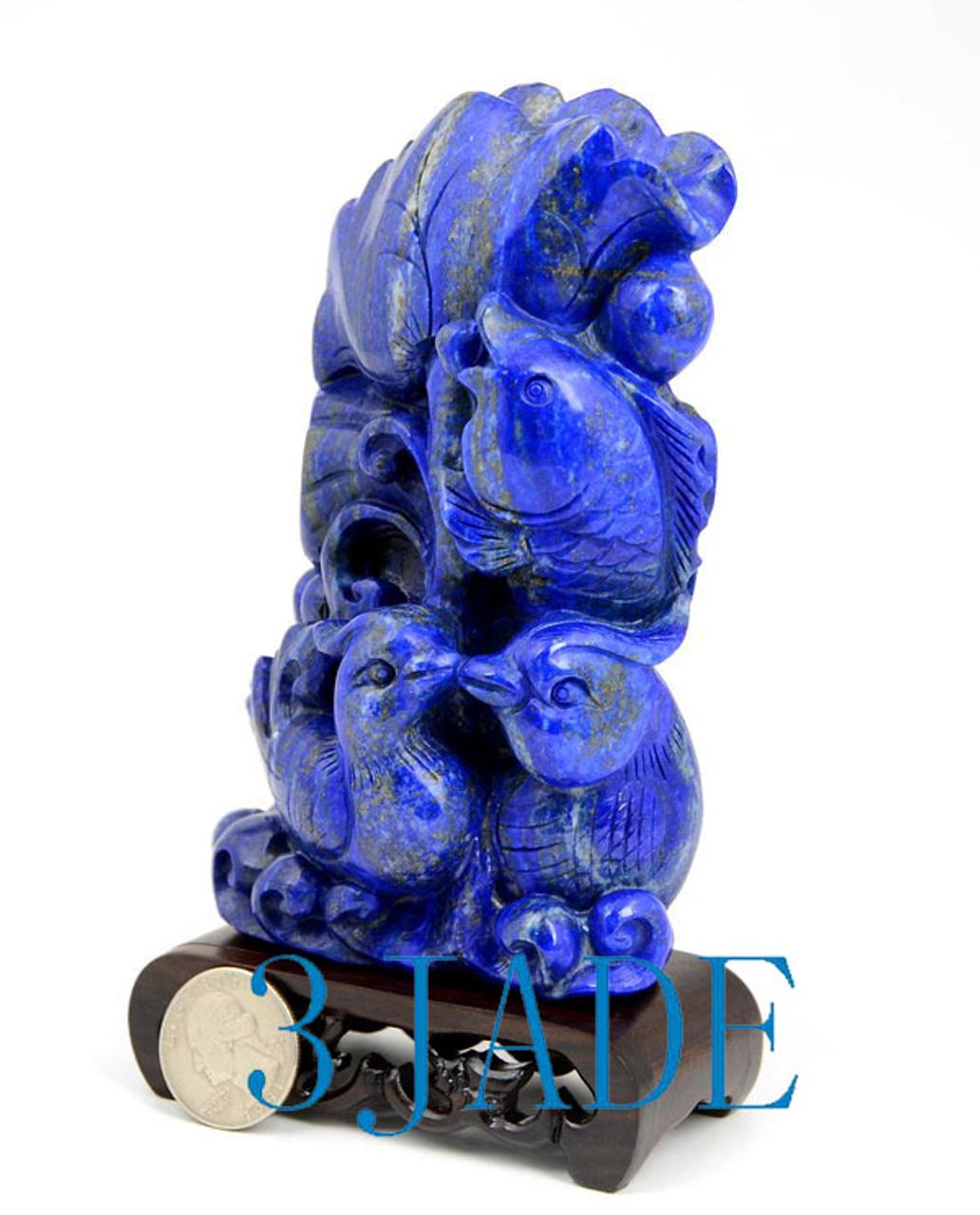 Lapis Lazuli Koi Fish Mandarin Sculpture