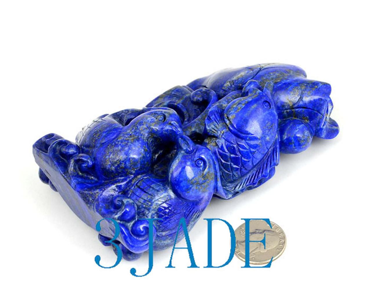 Lapis Lazuli Koi Fish Mandarin Duck Carving