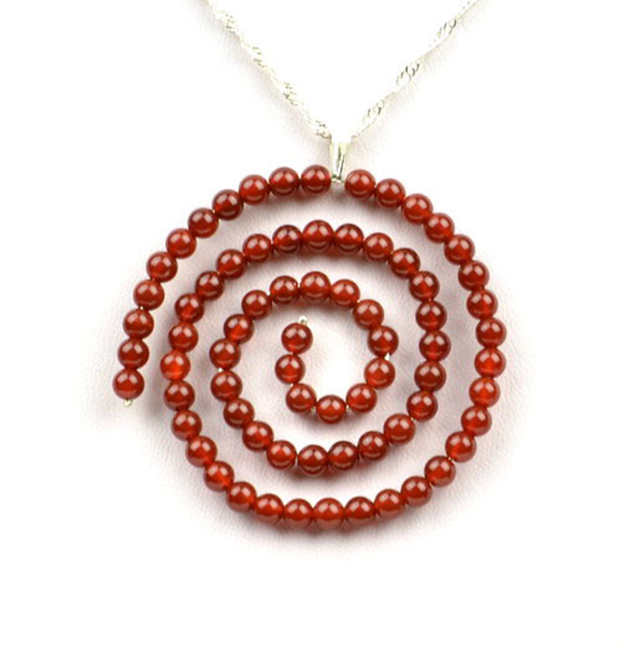 Red Agate / Carnelian Beaded Spiral Pendant