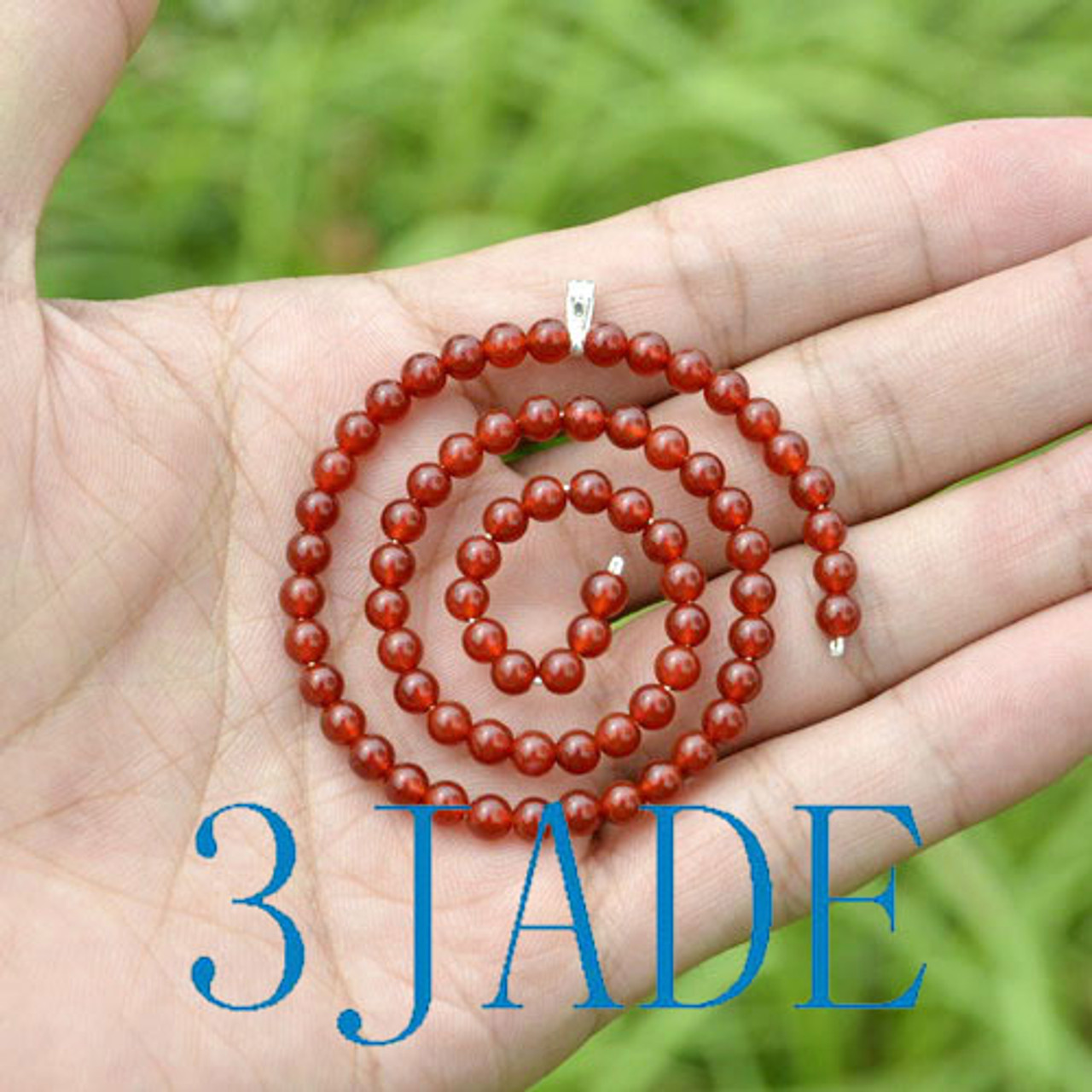 Red Agate Beaded Koru