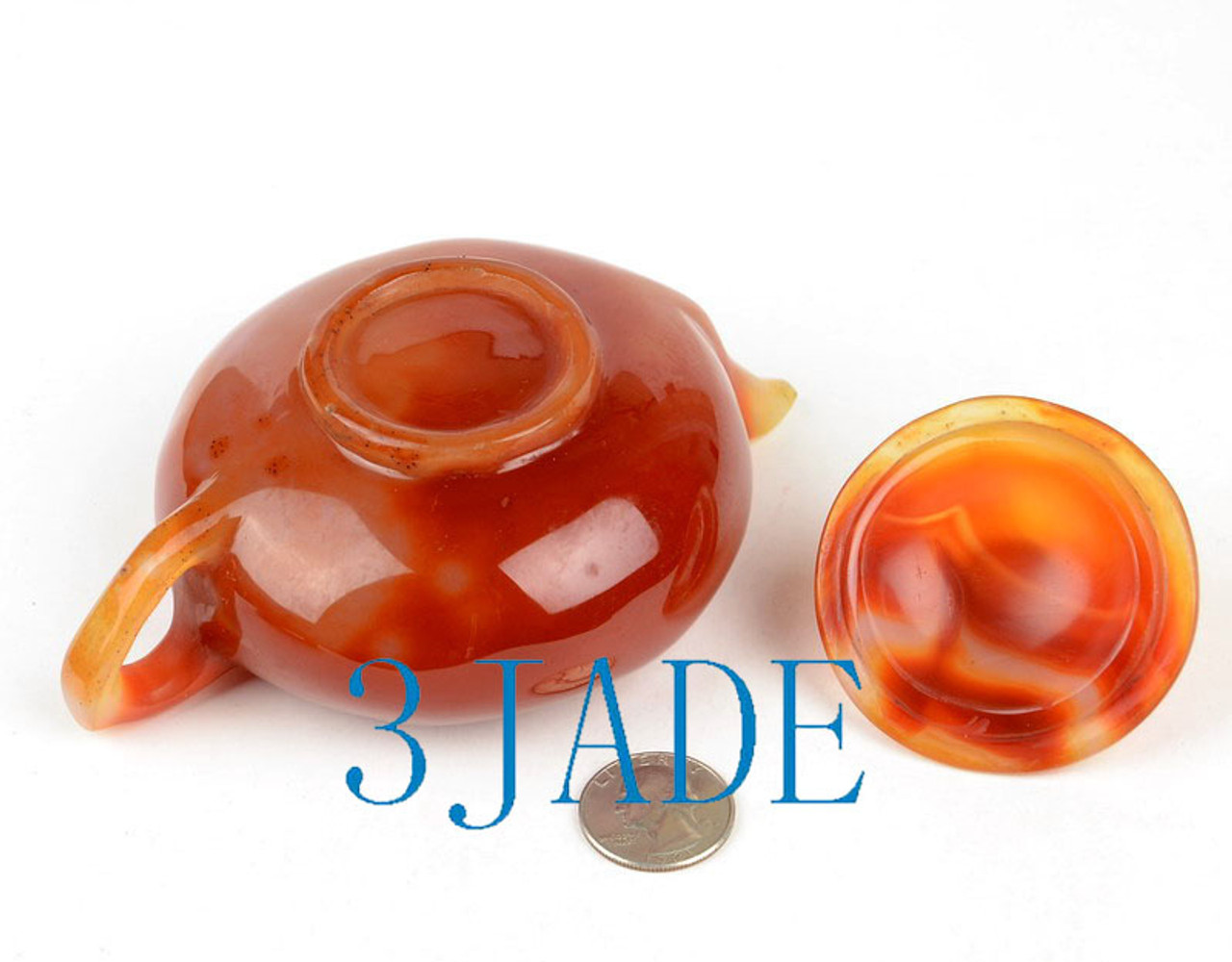 "5.75"" Red Agate / Carnelian Teapot / Stone Tea Pot Carving"