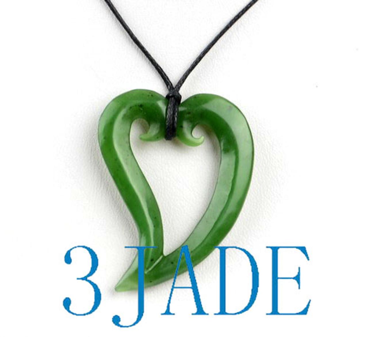 Green Nephrite Jade Double Koru Heart Pendant