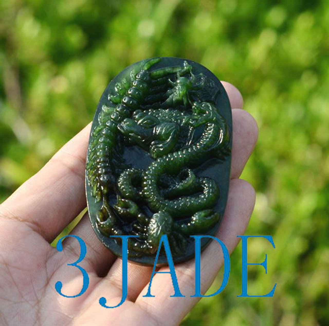 Jade Belt Buckle w/ Carved Five Poisonous Creatures