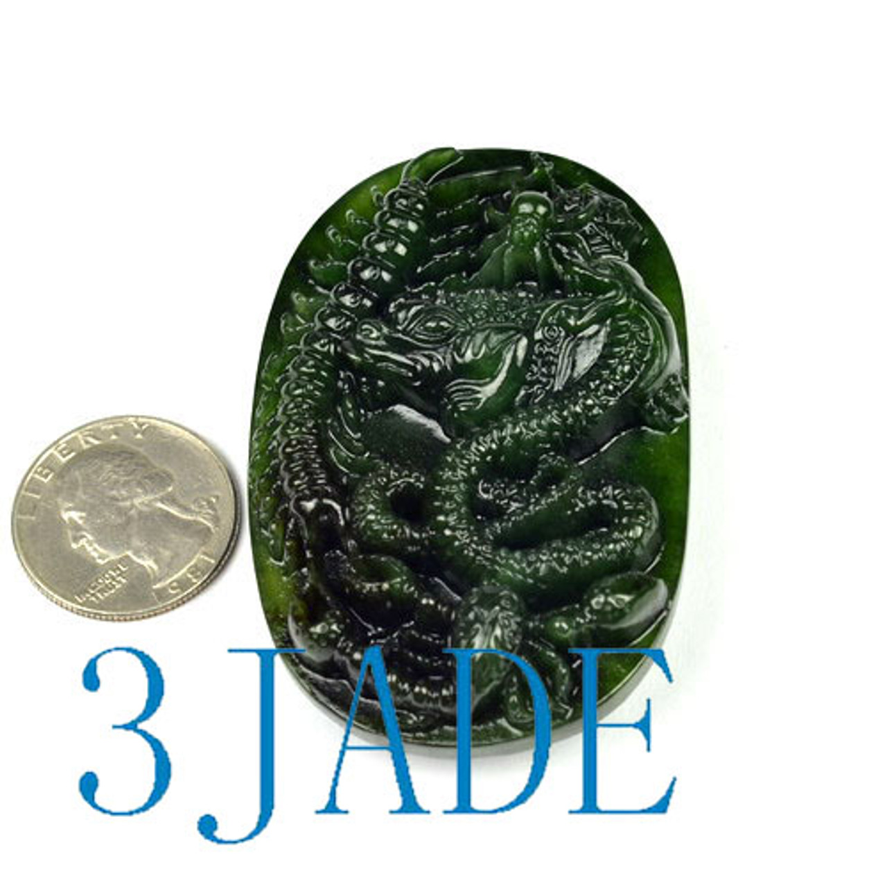 Green Nephrite Jade Belt Buckle w/ Carved Five Poisonous Creatures