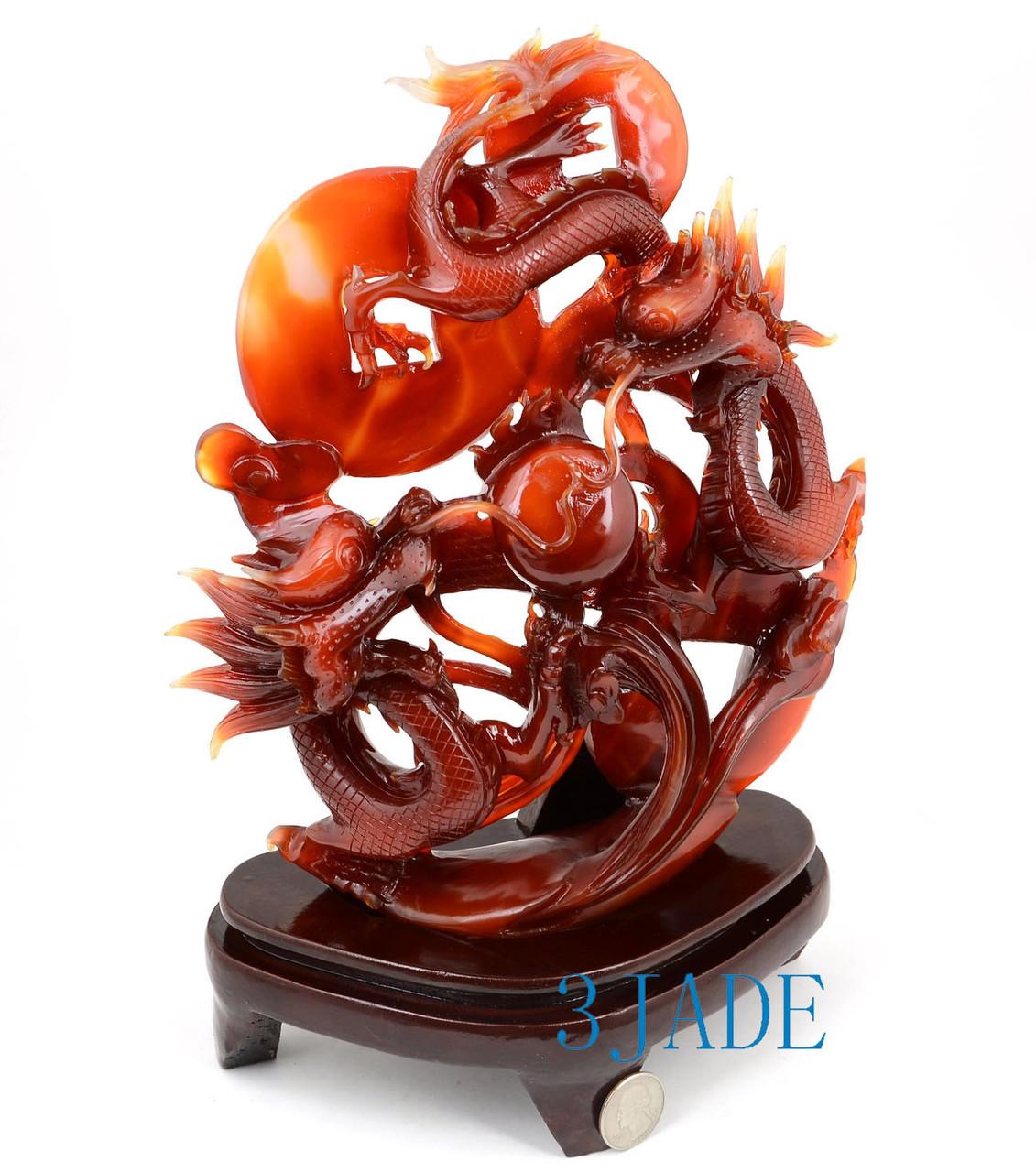 Carnelian Dragons Statue
