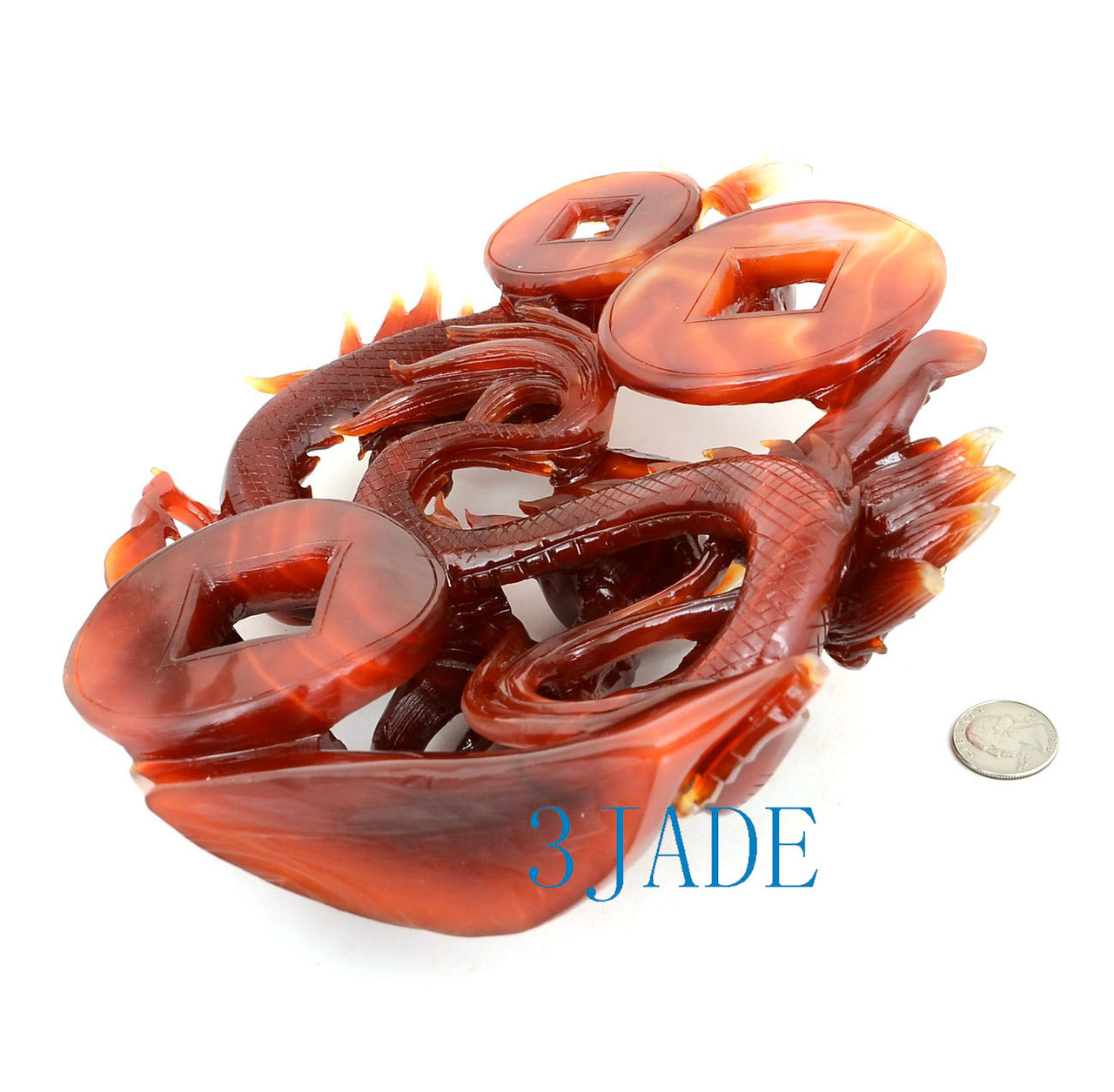 Carnelian / Red Agate Playing Dragons Statue Sculpture Chinese Carving