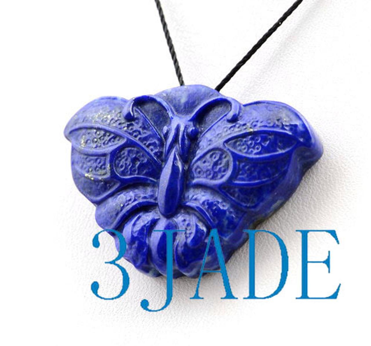Lapis Lazuli Gemstone Butterfly Pendant Necklace