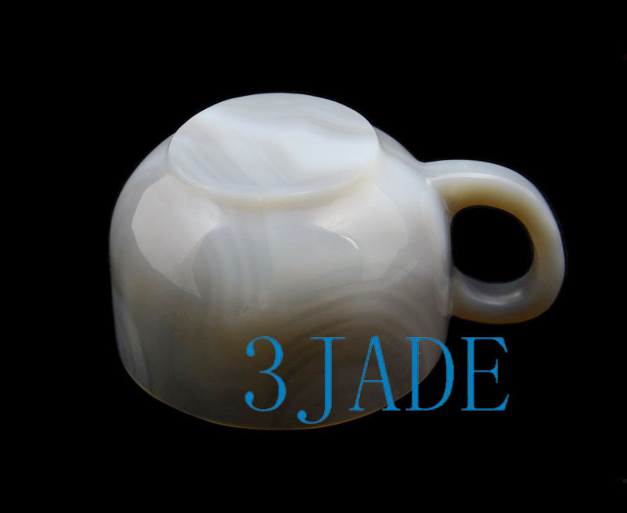 """5"""" Hand Carved Natural Stripe Agate Coffee Mug / Tea Cup with Lid"""