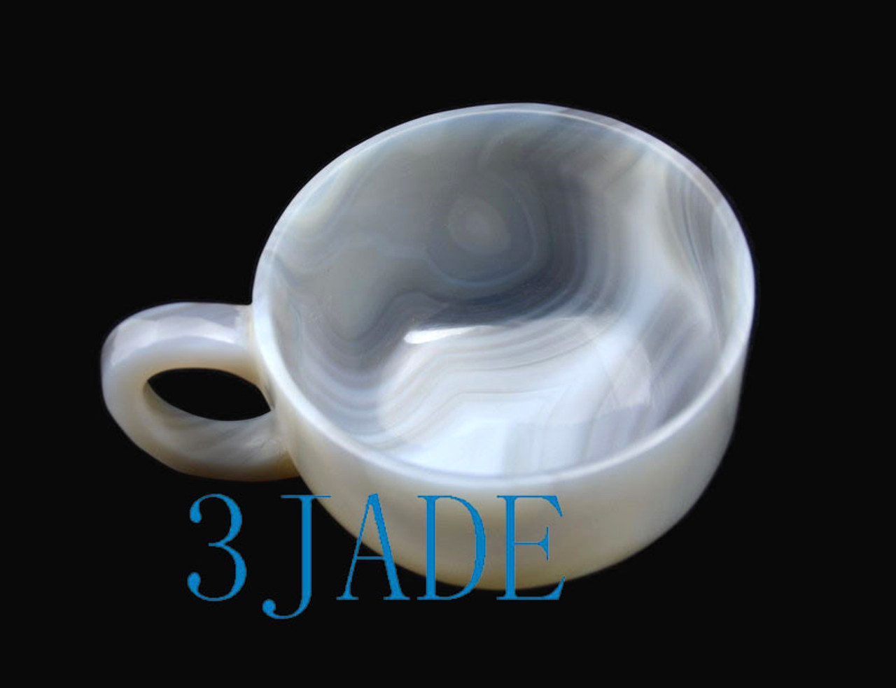 "5"" Hand Carved Natural Stripe Agate Coffee Mug / Tea Cup with Lid"