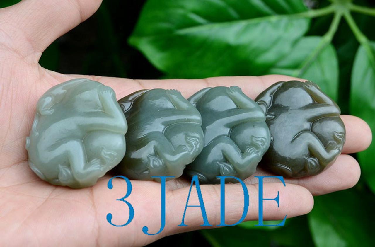 Hetian Jade Monkey Pendant Necklace