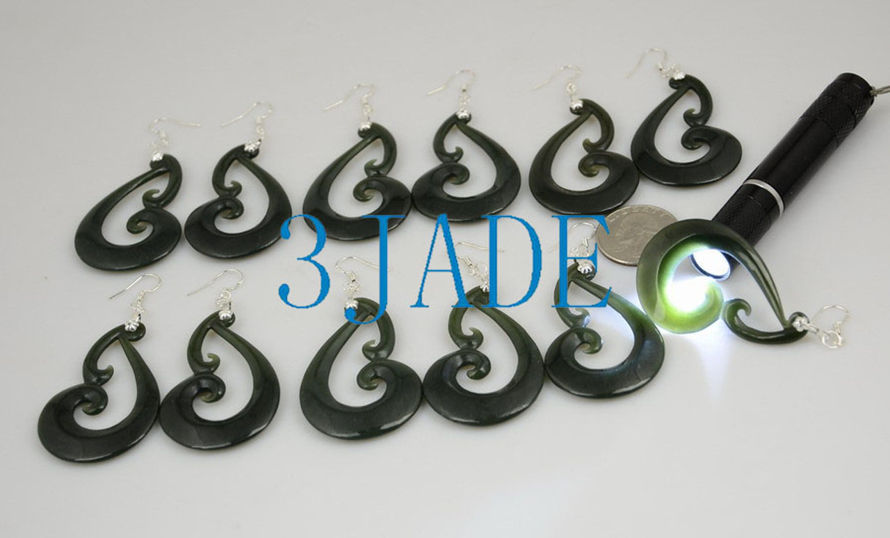 nephrite jade swirl earrings