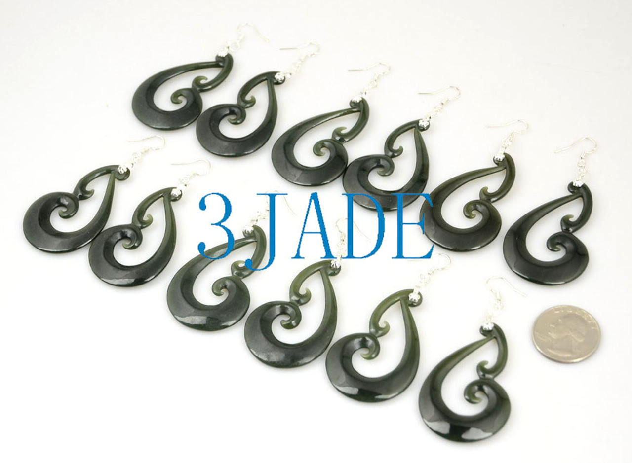 Maori nephrite jade earrings wholeslae