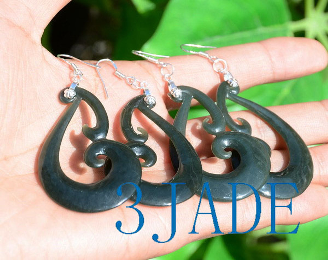 Maori Koru jade earrings