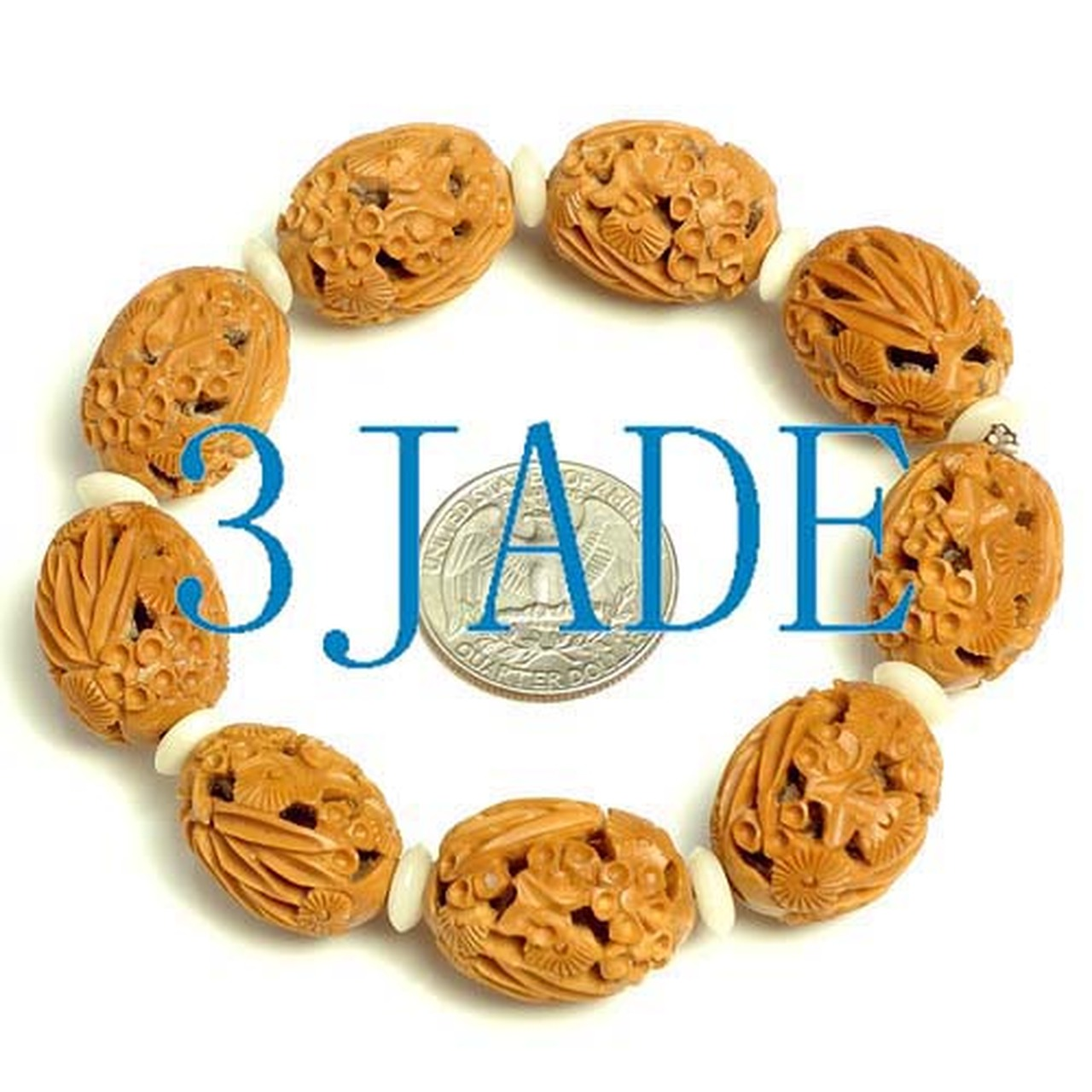 Carved Olive Beads Bracelet