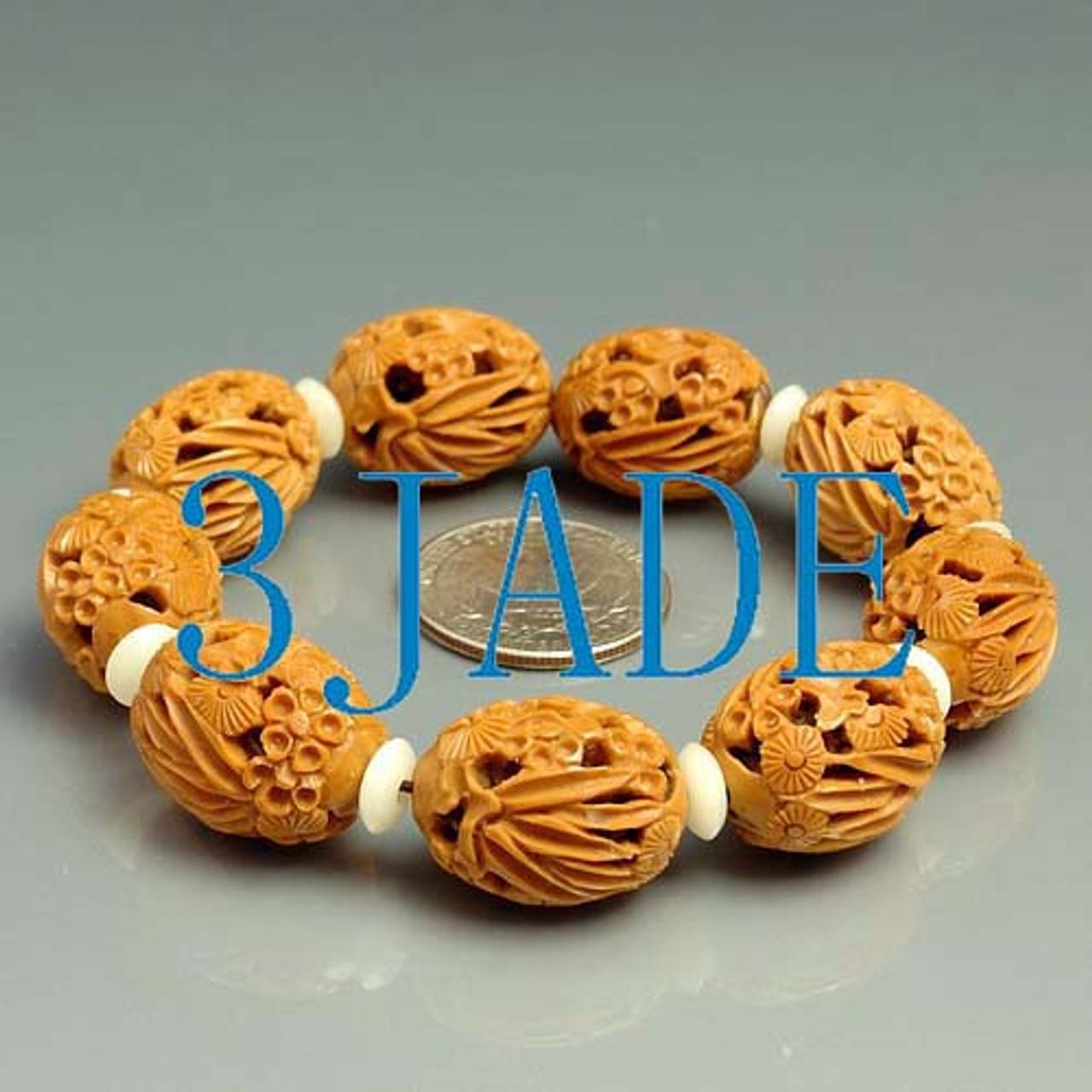 Olive Pit Beads Bracelet w/ Carved Pine Bamboo & Plum Pattern