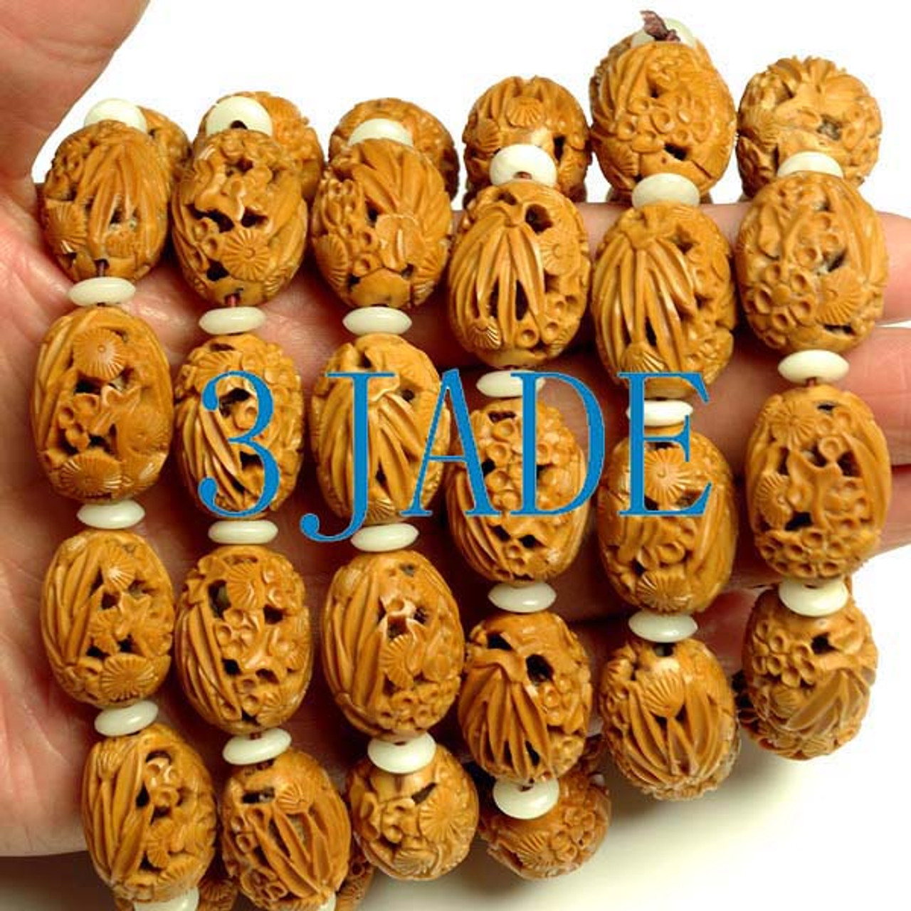 Carved Pine Bamboo & Plum Beads