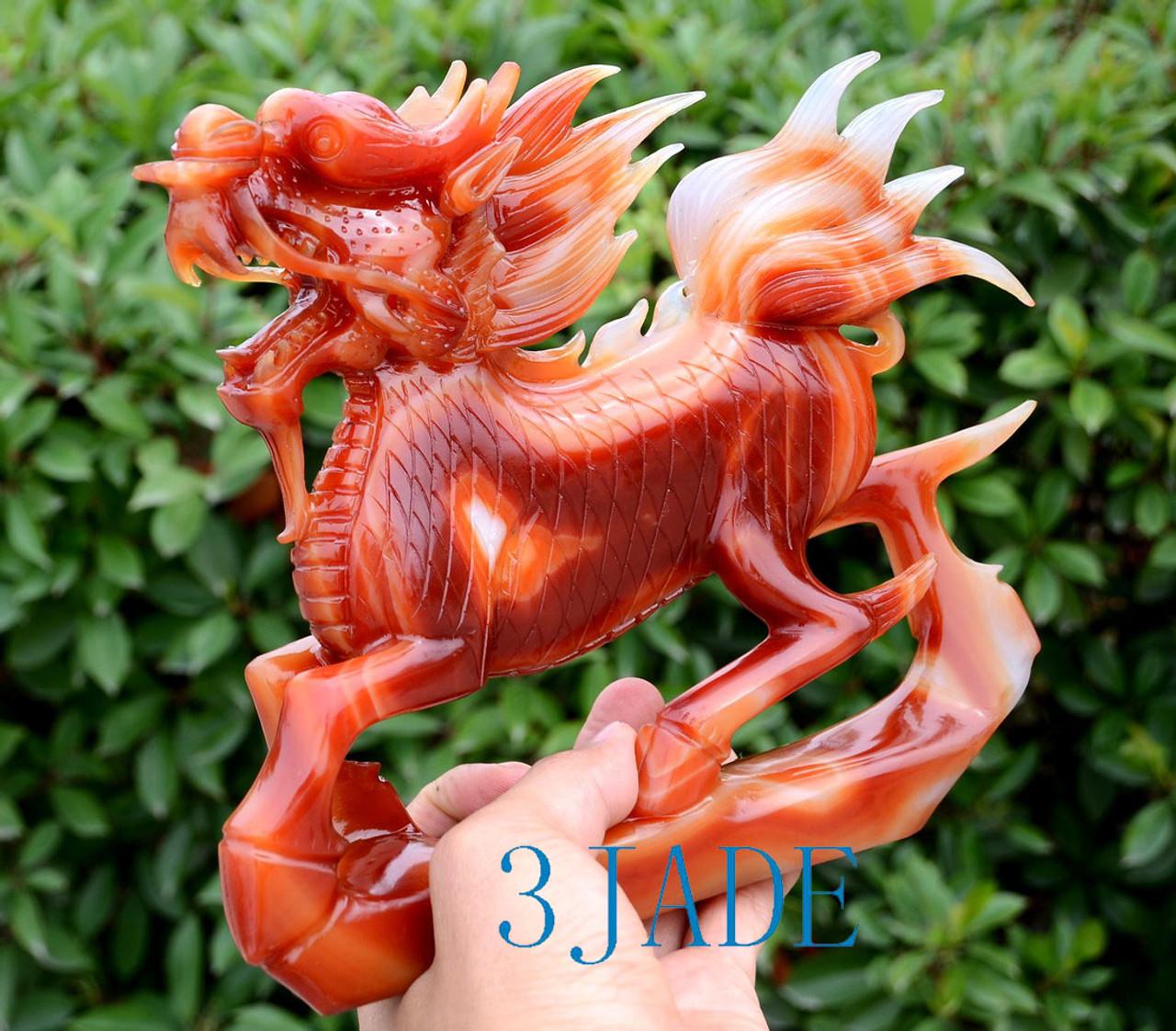Red Agate Qilin Sculpture