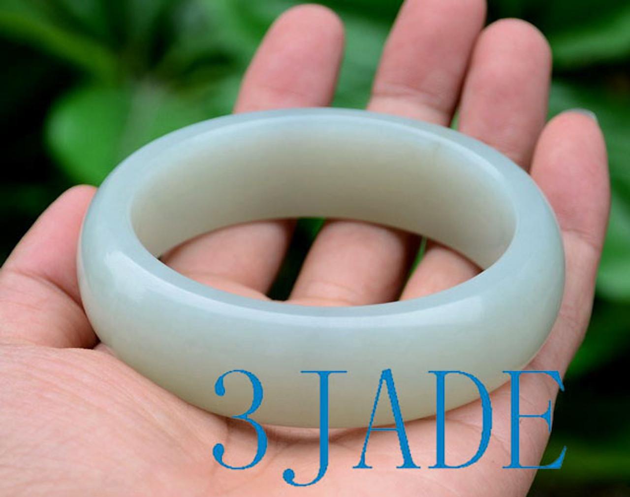 65mm Natural White Nephrite Jade Bangle Bracelet