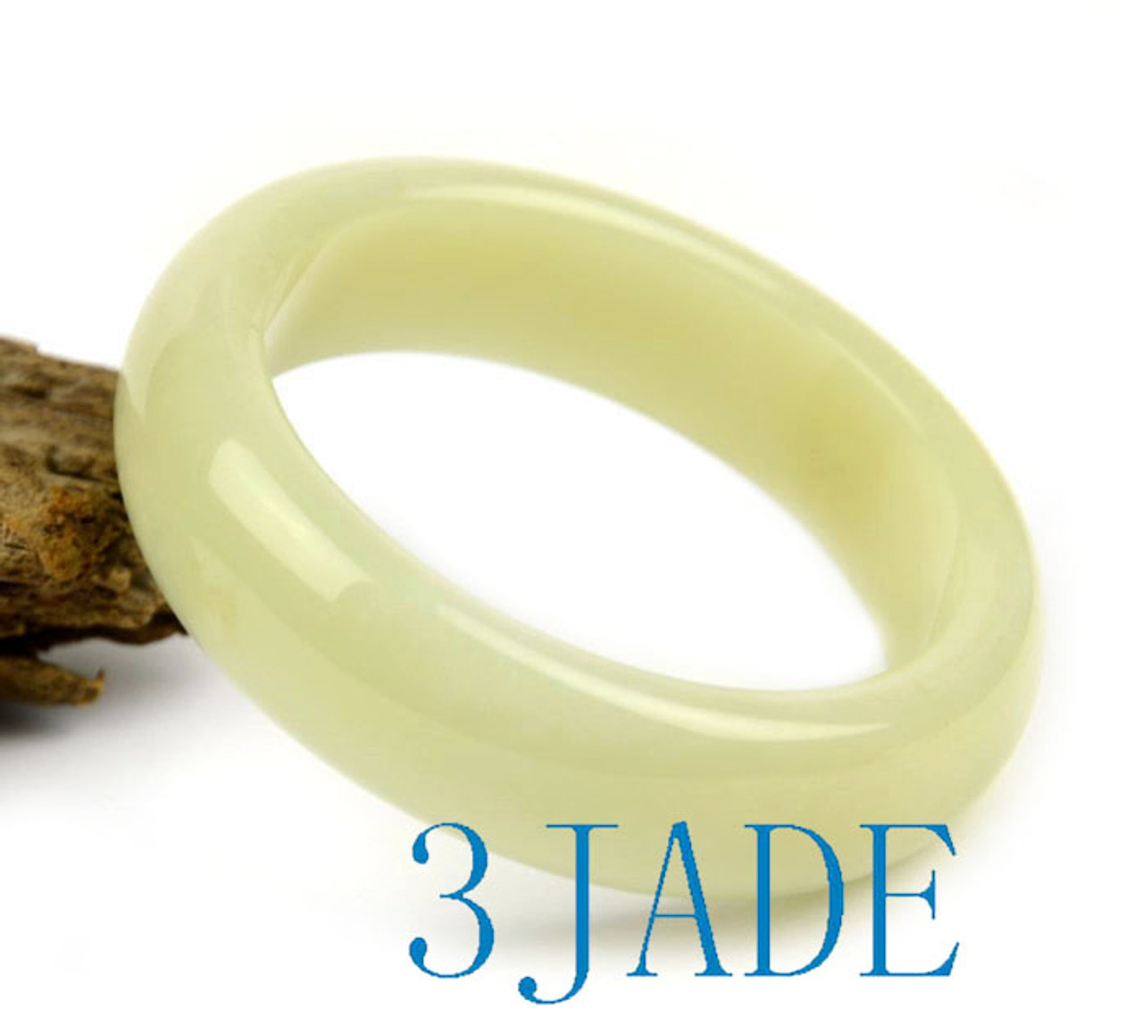 60mm Natural Creamy White Nephrite Jade D Shape Bangle Bracelet w/ Certificate