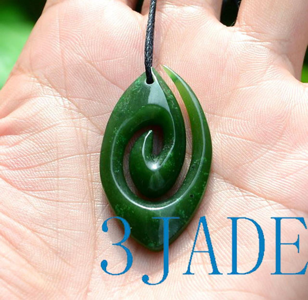 Green Nephrite Jade Koru Pendant Necklace