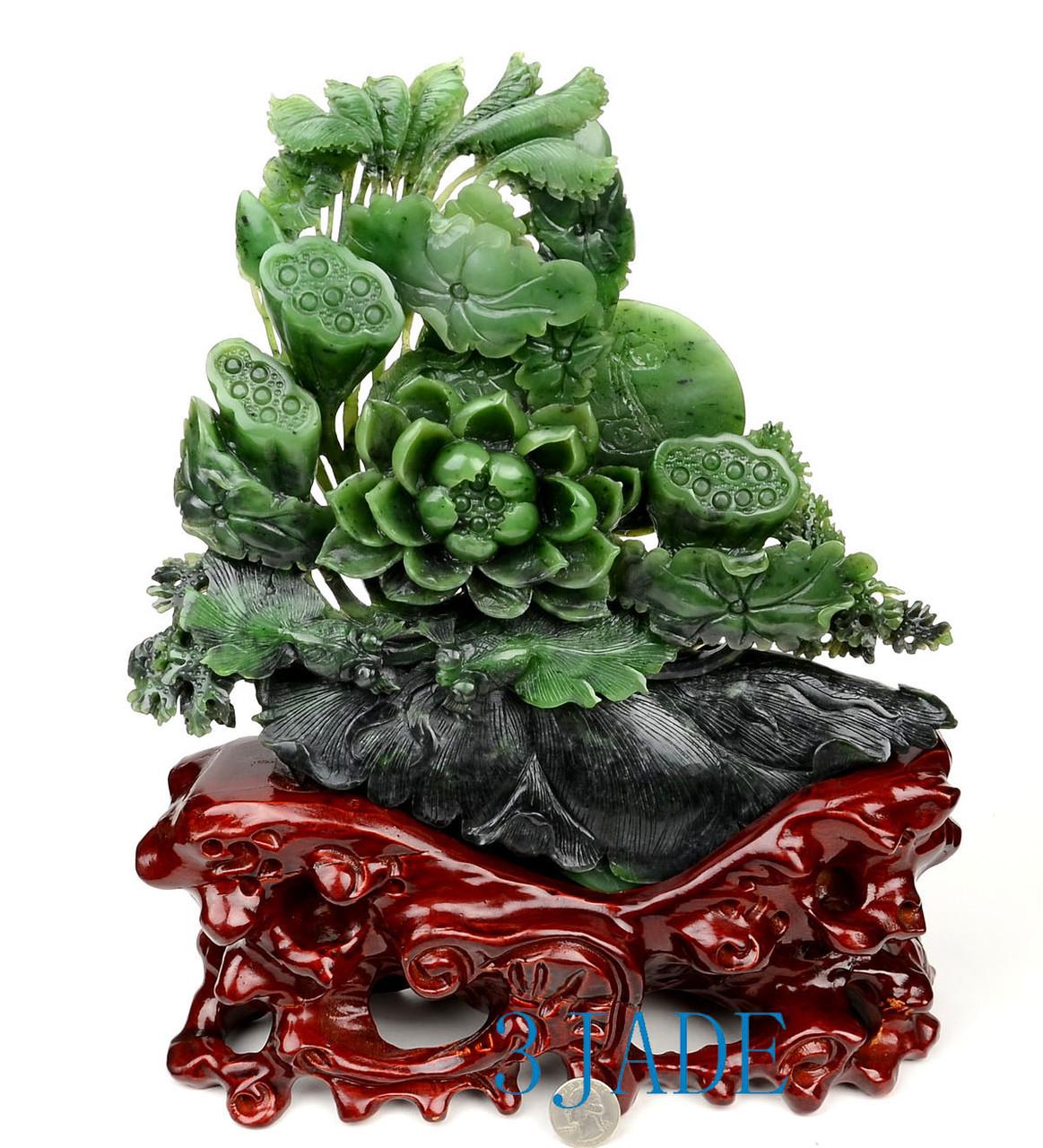 Green Nephrite Jade Lotus Seed Pod/Flower & Fish Sculpture