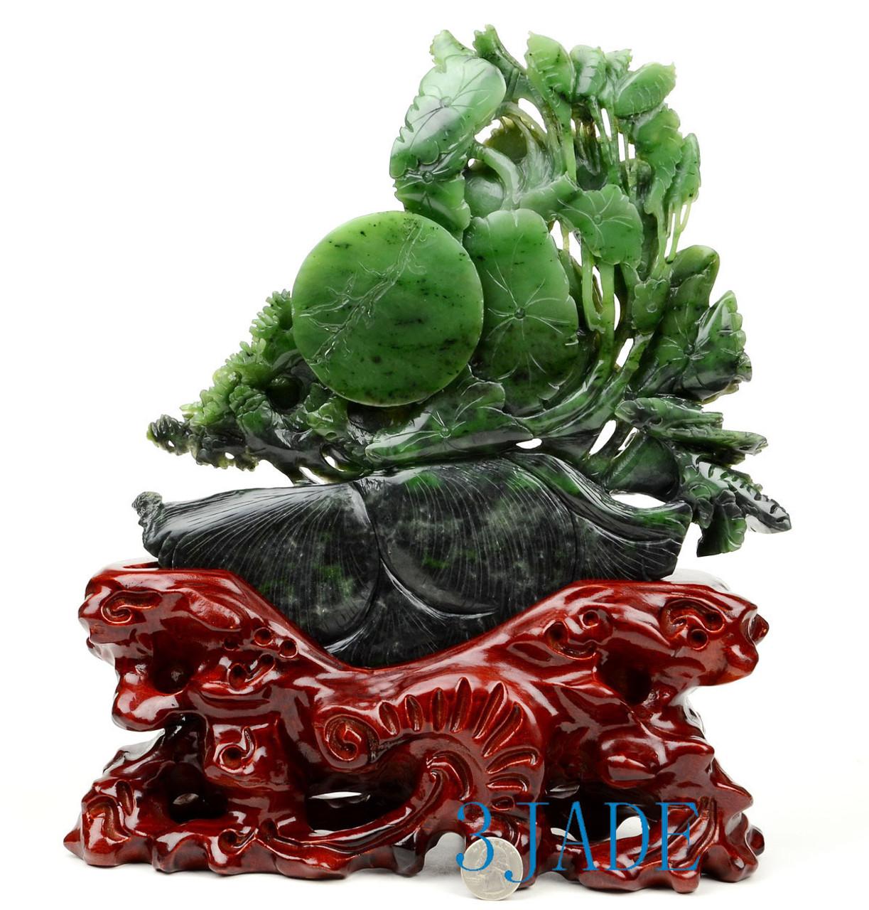 Green Nephrite Jade Lotus Seed Pod/Flower & Fish Sculpture East Asia/Chinese Artwork