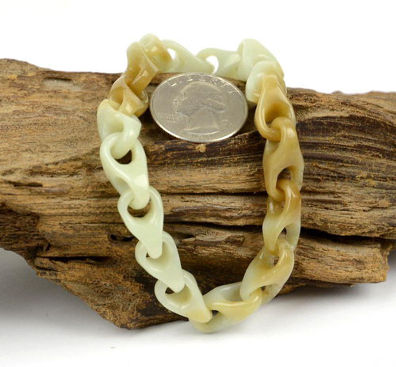 Hand Carved White Nephrite Jade Gemstone Loop Chain /Bracelet w/ Certificate