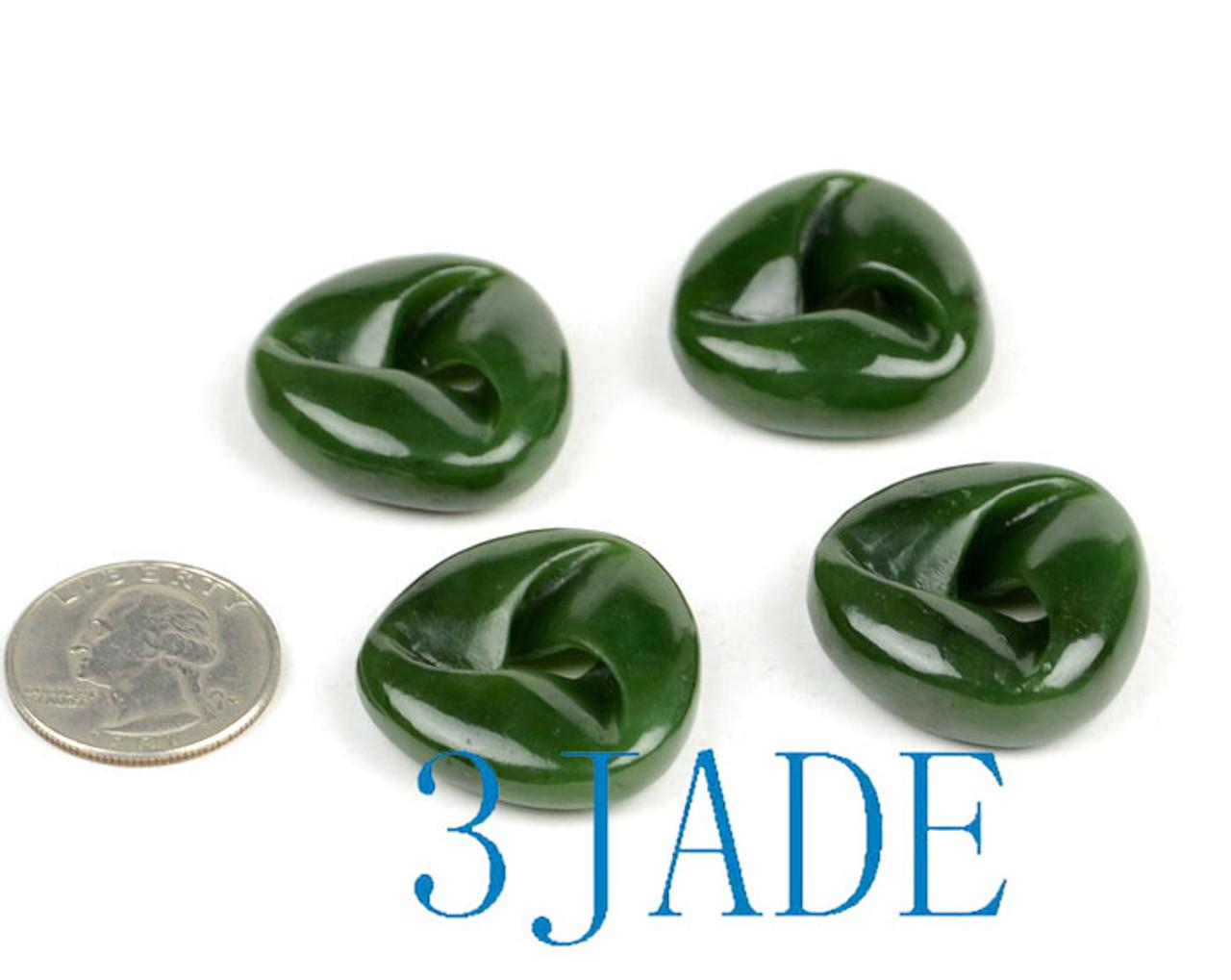 4pcs Hand Carved Green Jade Moebius Band/Möbius Strip/Moebius Ribbon Pendants Wholesale