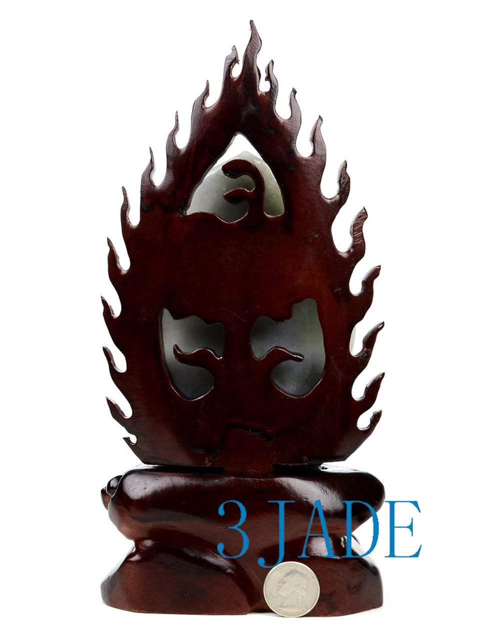 A Grade Multi-color Natural Jadeite Jade Kwan Yin / Guanyin Statue Sculpture w/ certificate