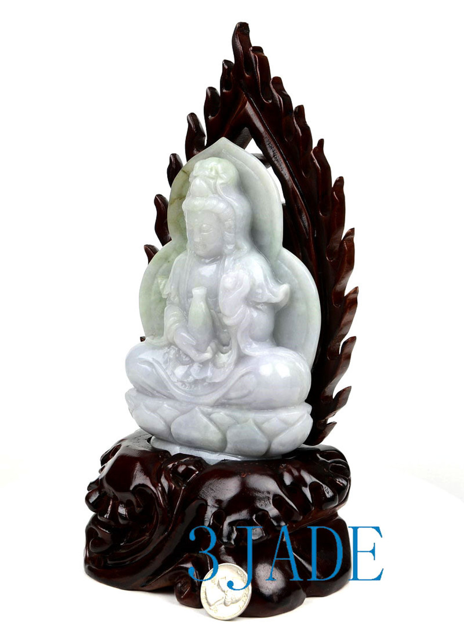 A Grade Jadeite Jade Guanyin Statue