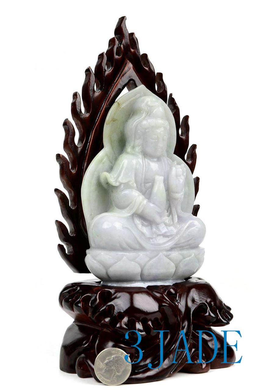 A Grade Jadeite Jade Guan-Yin Statue