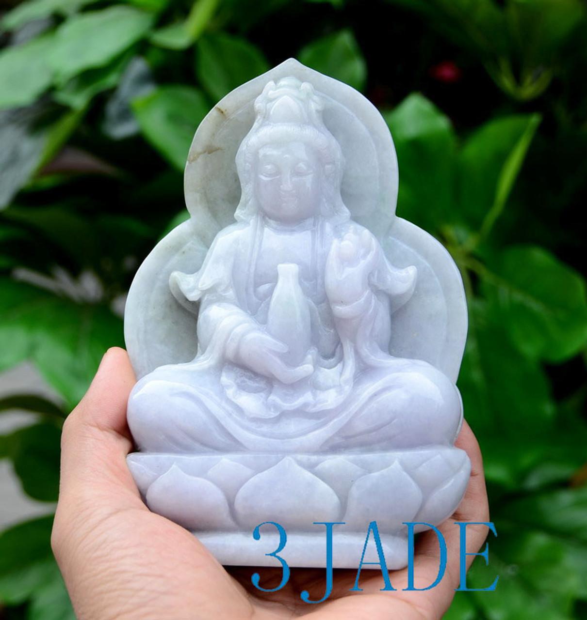 A Grade Jadeite Jade Kwan Yin Carving