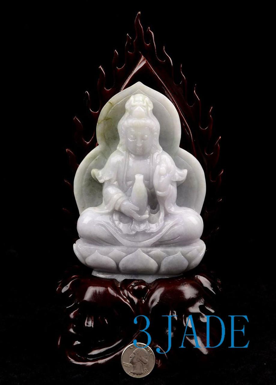 A Grade Jadeite Jade Kwan Yin Sculpture