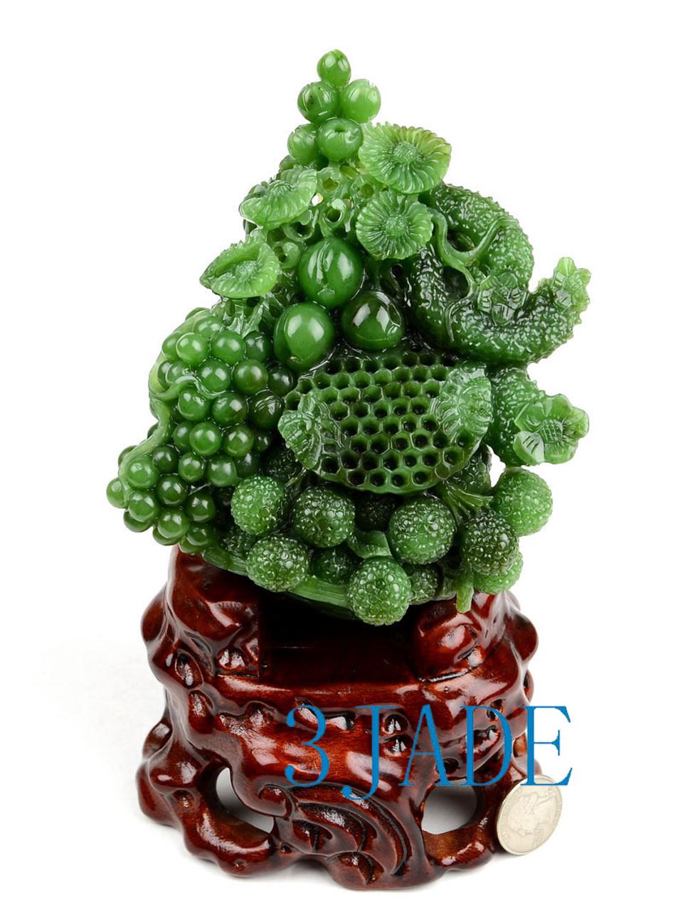Jade Flower & Fruit Basket Statue
