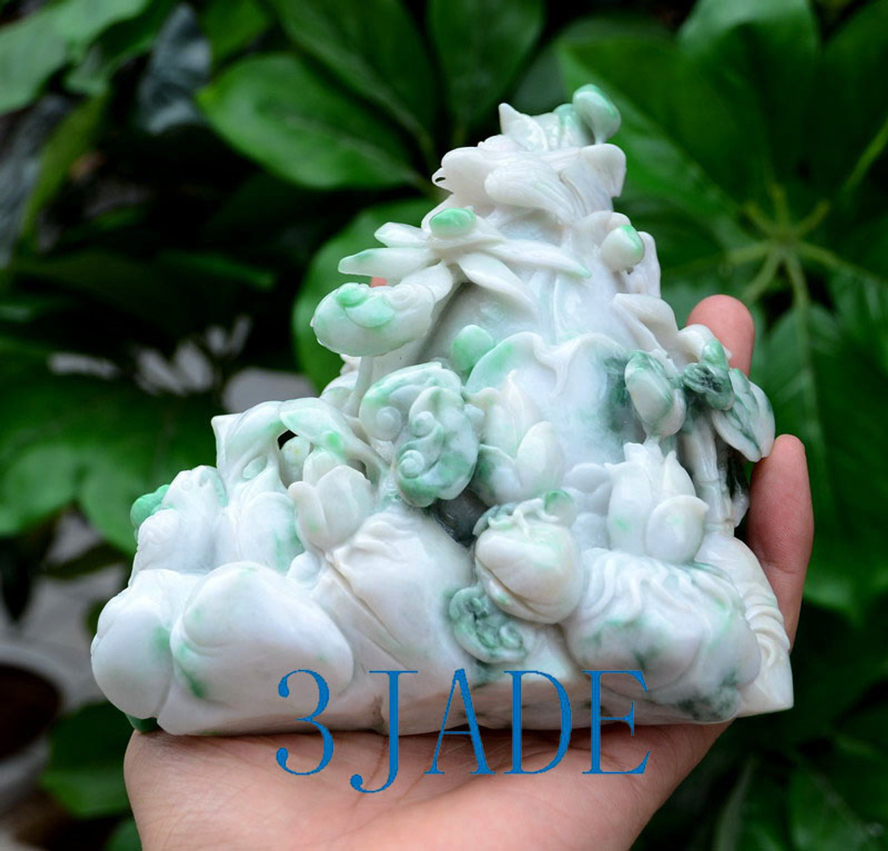 A Grade White-Green Jadeite Jade Bamboo Shoots Statue Sculpture w/certificate