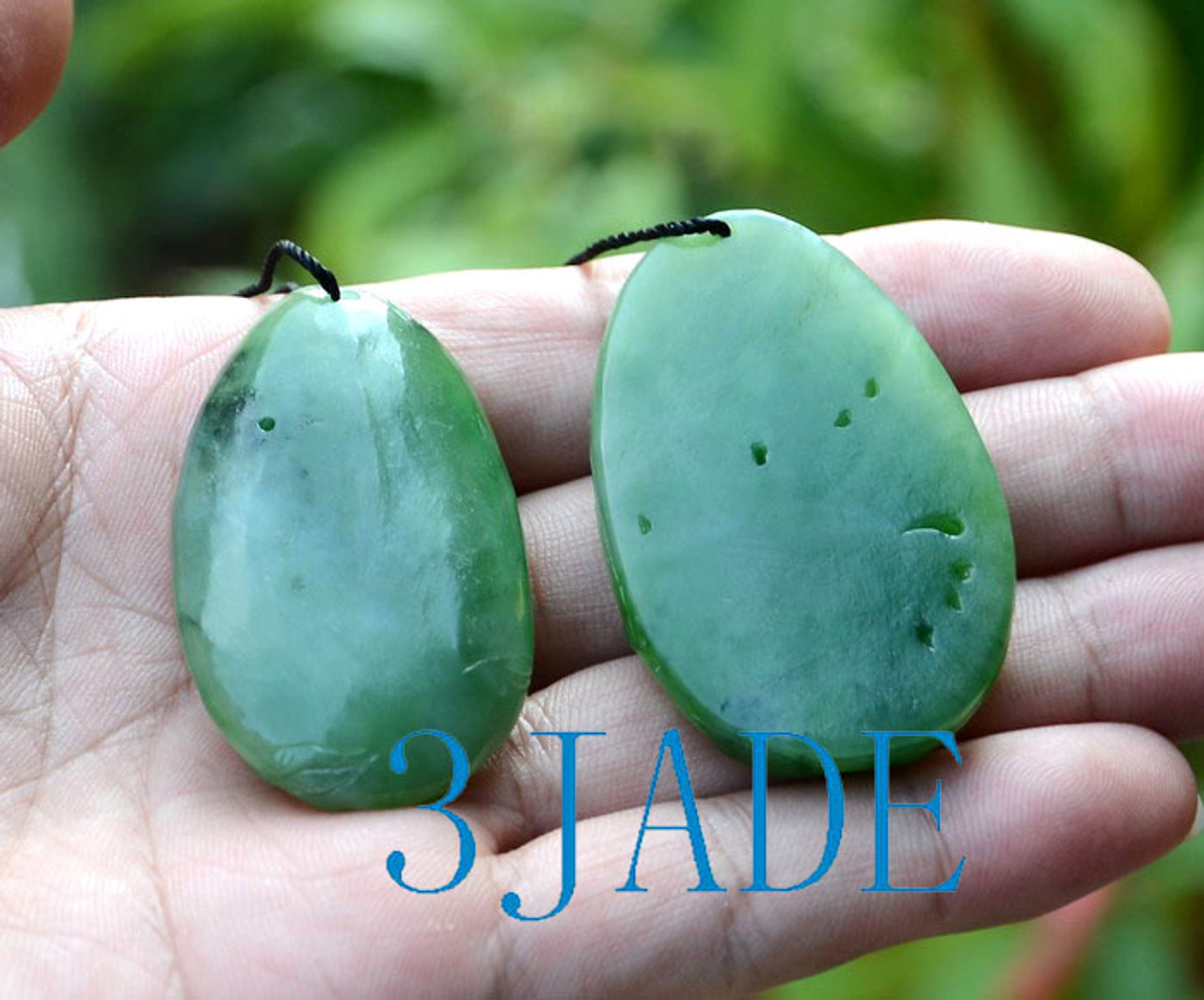 Hand Carved Natural Green Nephrite Jade Peony Flower Pendant Necklace w/ certificate