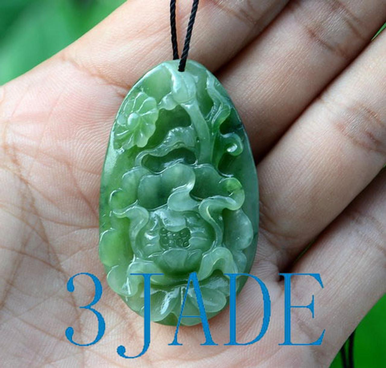 Hand Carved Jade Peony Flower Pendant